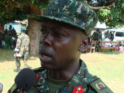 Brig. GEN Joseph Ssemwanga speaking to press