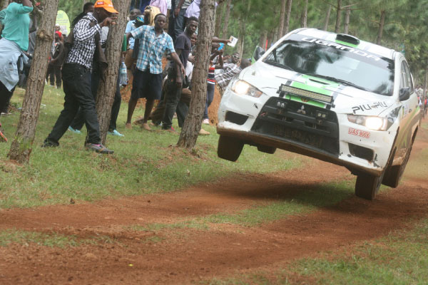 Rally car in mid air action