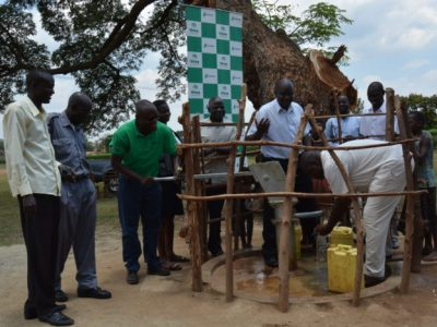 Patrick Waswa of Hima cement with Tororo residents