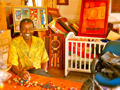 Sanaa Gateja in his studio