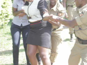 Police restraining the woman