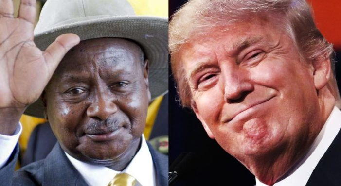 President Museveni (L) and President Donald Trump (R)