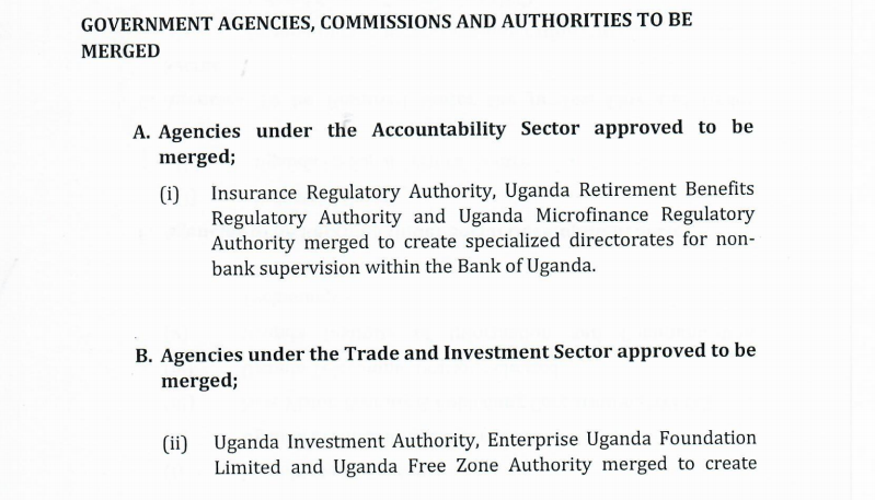 FULL LIST: UNRA, UWA Collapsed As Government Merges 40